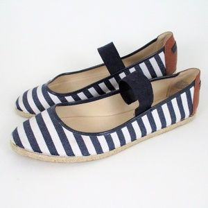 Nine West Nautical Stripe Espadrille Flats Blue